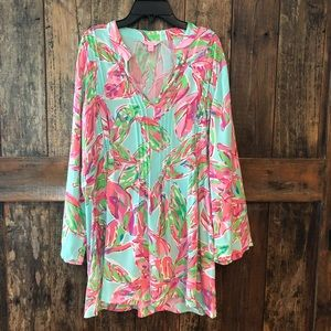 Lilly Pulitzer, L, Classic Pink & Green Tunic